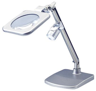 【LEDライト付・2倍130mm】読書用ルーペ・スタンド台付拡大鏡・虫眼鏡(RX-120)日本製クリアー光学