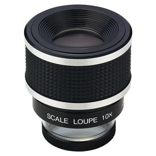 スケールルーペ 10倍 目盛0.1mm P-1028 日本製 クリアー光学