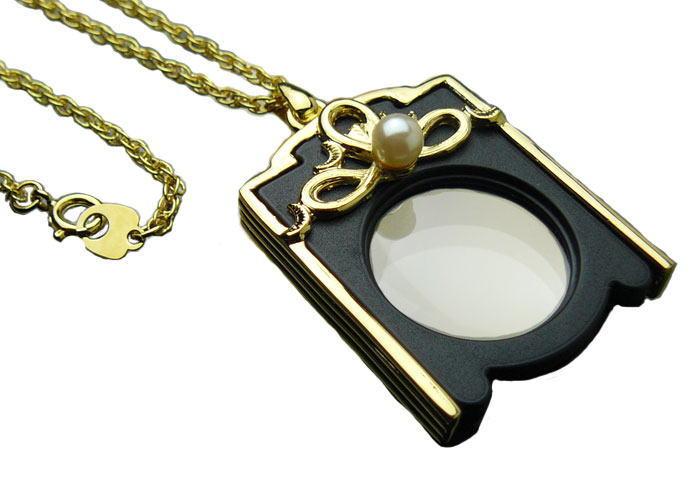 ルーペ 拡大鏡 4倍 ペンダント パール ネックレス 母の日 敬老の日 PG-4 日本製 クリアー光学