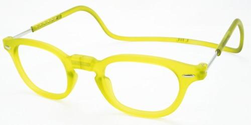老眼鏡 首かけ 正規品 クリックリーダー ヴィンテージ 磁石 おしゃれ メガネケース付 レモンライム/マット