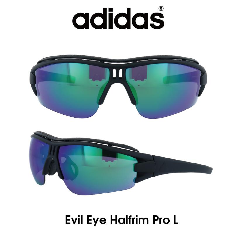 Adidas (アディダス) サングラス Evil Eye Halfrim Pro L イーブルアイ ハーフリムプロ AD07-75-9101-L グレー/グリーンミラー レンズ 人気モデル UVカット アウトドア ドライブ スポーツ