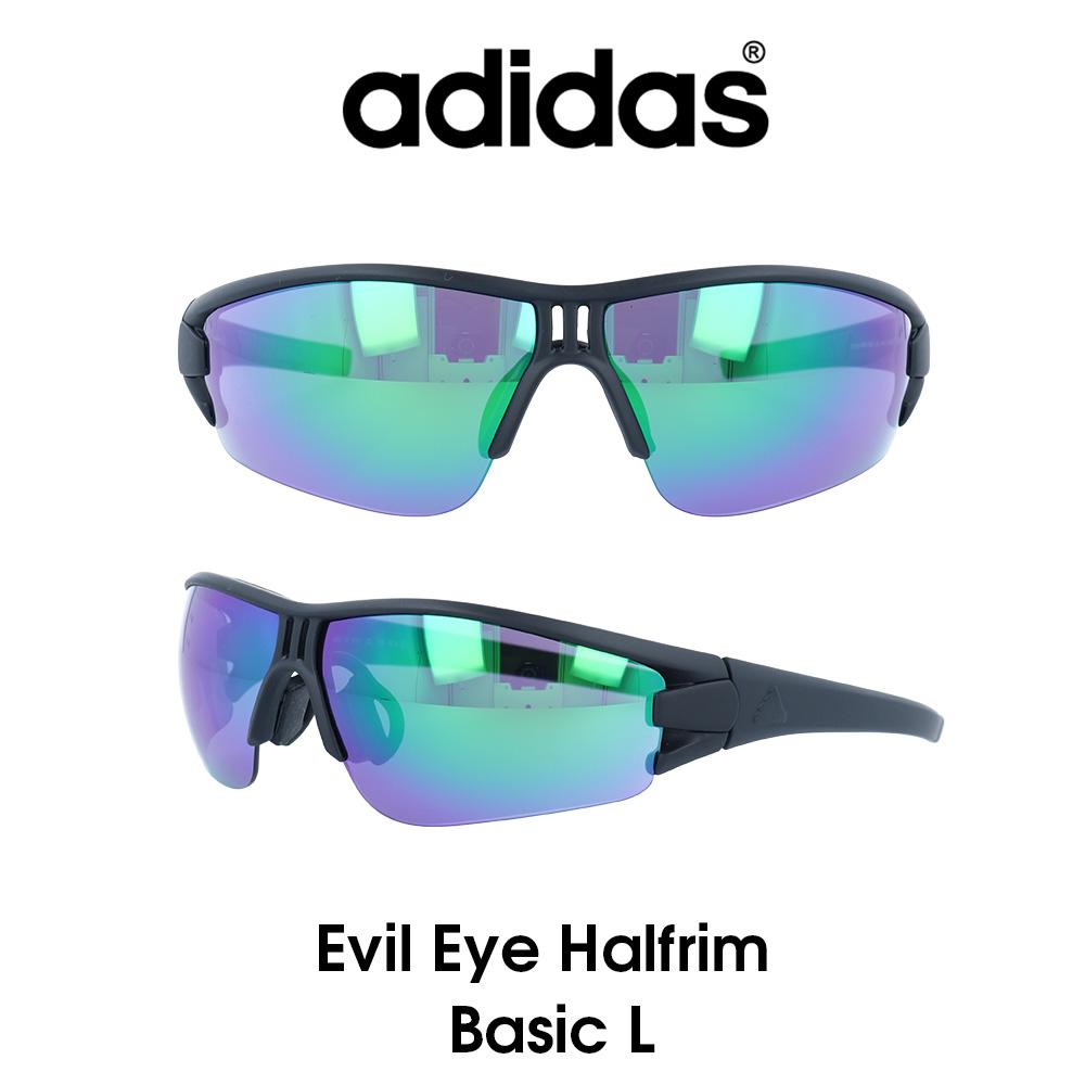 Adidas (アディダス) サングラス Evil Eye Halfrim Basic L イーブルアイ ハーフリムベーシック AD08-75-9101-L グレー/グリーンミラー レンズ 人気モデル UVカット アウトドア ドライブ スポーツ