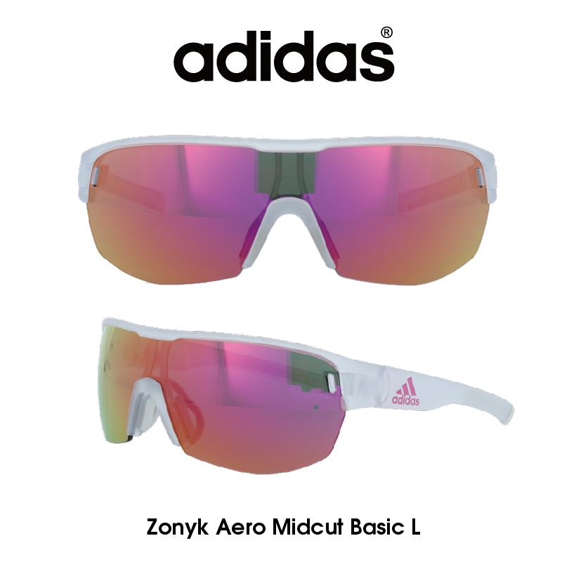 Adidas (アディダス) サングラス Zonyk Aero Midcut Basic L ゾニック エアロ ミッドカット ベーシック AD12-75-1200-L グレー/パープルミラー レンズ 人気モデル UVカット アウトドア ドライブ スポーツ
