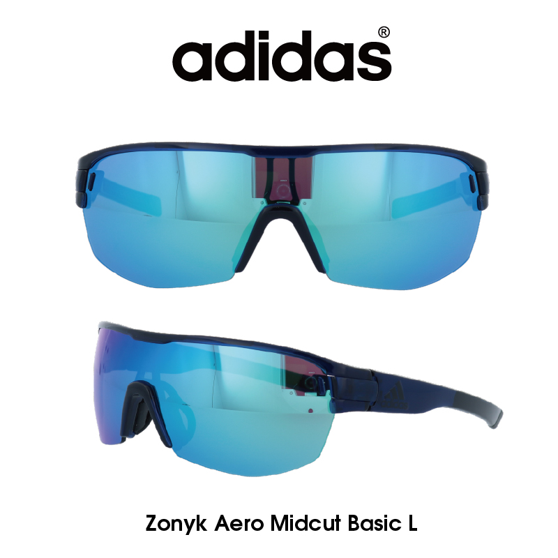 Adidas (アディダス) サングラス Zonyk Aero Midcut Basic L ゾニック エアロ ミッドカット ベーシック AD12-75-4500-L グレー/ブルーミラー レンズ 人気モデル UVカット アウトドア ドライブ スポーツ