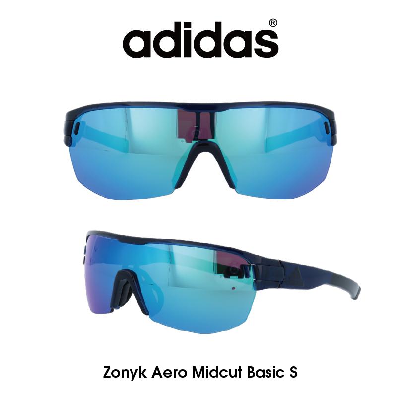 Adidas (アディダス) サングラス Zonyk Aero Midcut Basic S ゾニック エアロ ミッドカット ベーシック AD12-75-4500-S グレー/ブルーミラー レンズ 人気モデル UVカット アウトドア ドライブ スポーツ