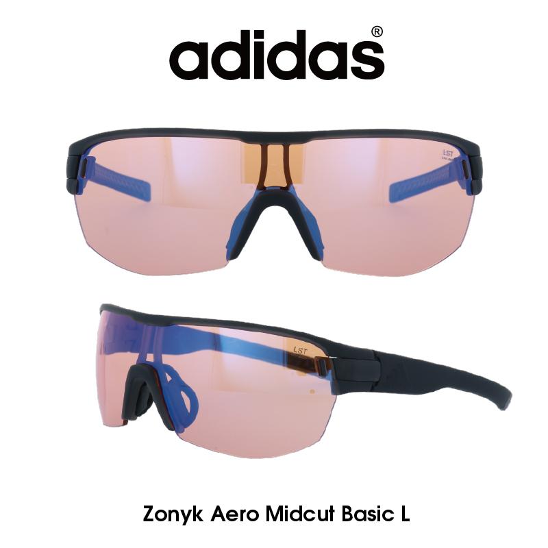Adidas (アディダス) サングラス Zonyk Aero Midcut Basic L ゾニック エアロ ミッドカット ベーシック AD12-75-6800-L LSTブライトブルーミラー レンズ 人気モデル UVカット アウトドア ドライブ スポーツ