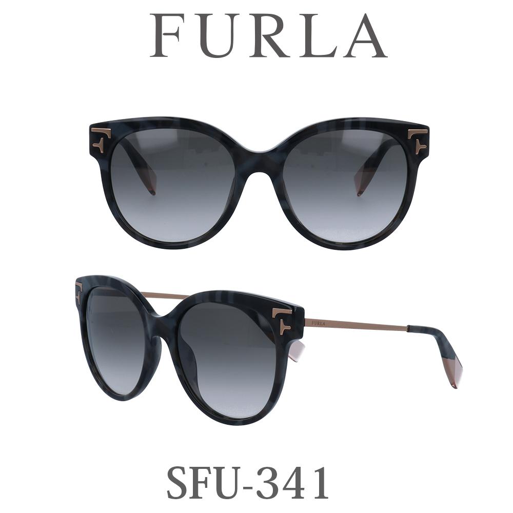 2020年 FURLA(フルラ) サングラス SFU-341 96N シャイニーグレーハバナ/グリーングラデーション レディース 人気ブランド UVカット キュート おしゃれ モード