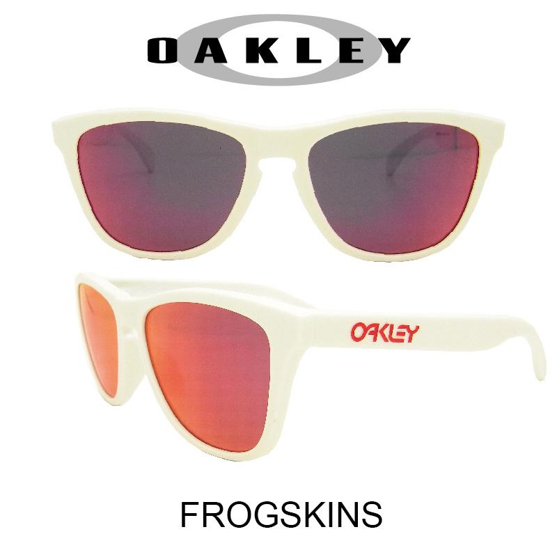 OAKLEY オークリー サングラス (アジアンフィット) フロッグスキン ポリッシュドホワイト/ルビーイリジウム 野球 ゴルフ(Sunglasses FROGSKINS 9245-44 Polished White/Rudy Iridium)