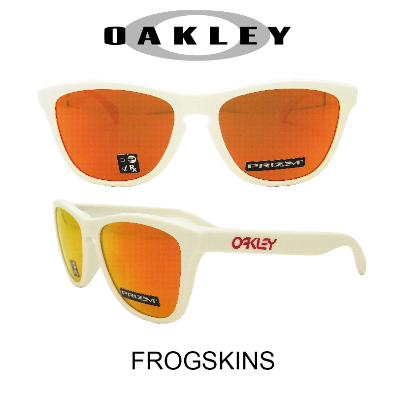 OAKLEY オークリー サングラス (アジアンフィット) フロッグスキン ポリッシュドホワイト/プリズムルビー 野球 ゴルフ(Sunglasses FROGSKINS 9245-7654 Polished White/Prizm Ruby)