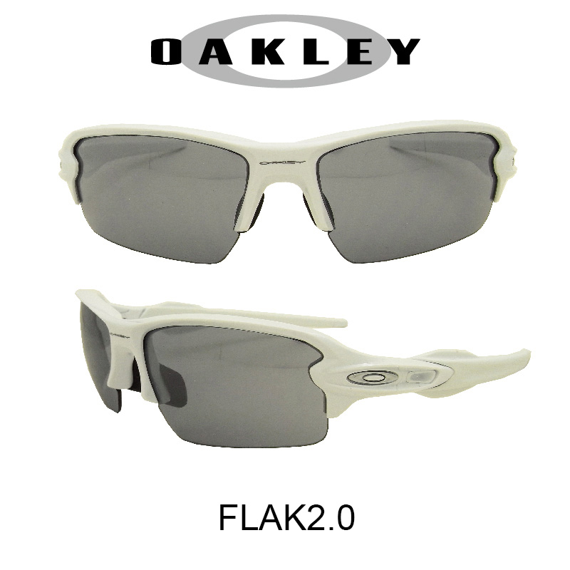 【国内正規品】(アジアンフィット)OAKLEY オークリー サングラス フラック2.0 ポリッシュドホワイト/スレイトイリジウム 野球 ゴルフ(Sunglasses FLAK2.0 9271-1661 Polished White/Slate Iridium)