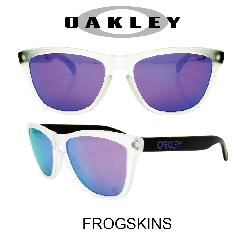 OAKLEY サングラス オークリー 野球 Sunglasses FROGSKINS 419 Matte Clear/Violet Iridium(オークリー サングラス フロッグスキン マットクリア・ブラック/ヴァイオレットミラー