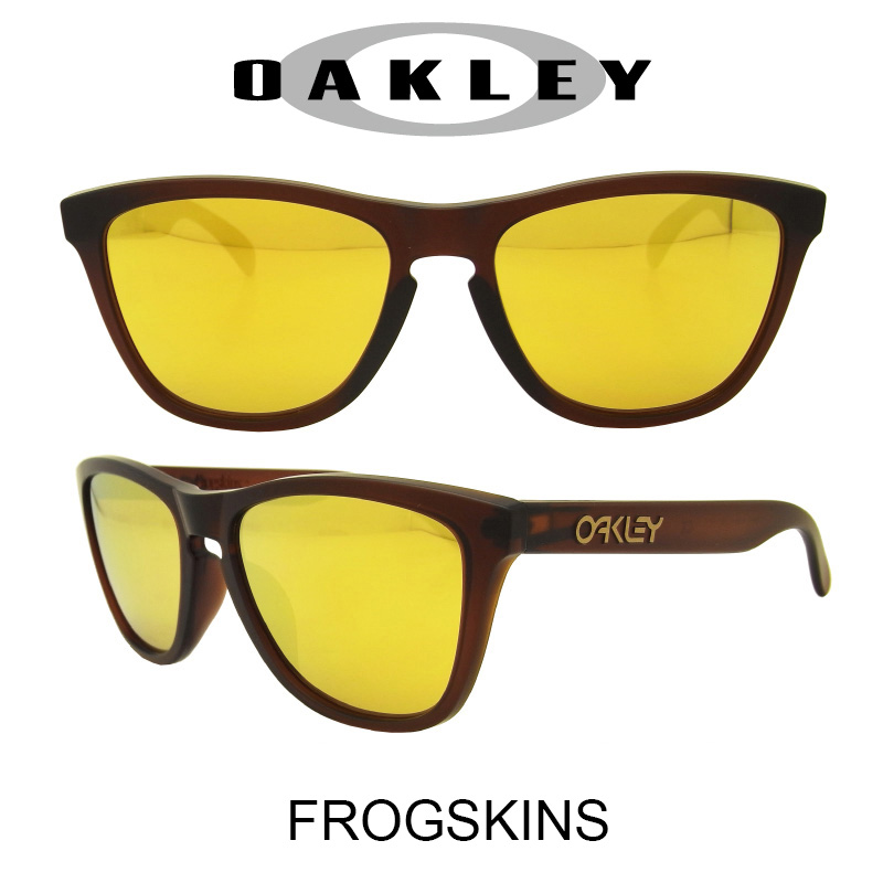 OAKLEY オークリー サングラス (アジアンフィット) フロッグスキン マットルートビアー/24Kイリジウム 野球 ゴルフ(Sunglasses FROGSKINS 9245-04 Matte Rootbeer/24K Iridium)