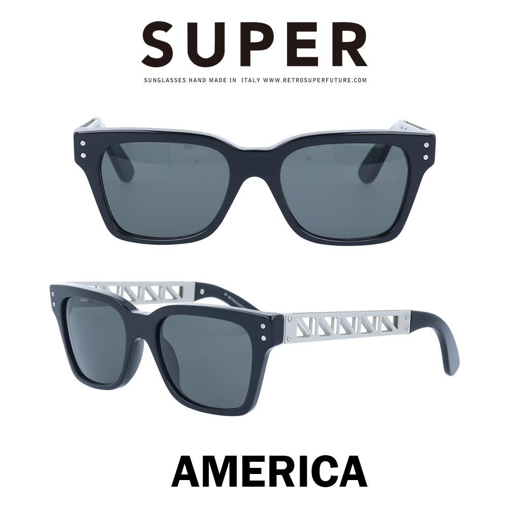SUPER(スーパー) サングラス アメリカ America TMS ブラック/シルバー/ブラック