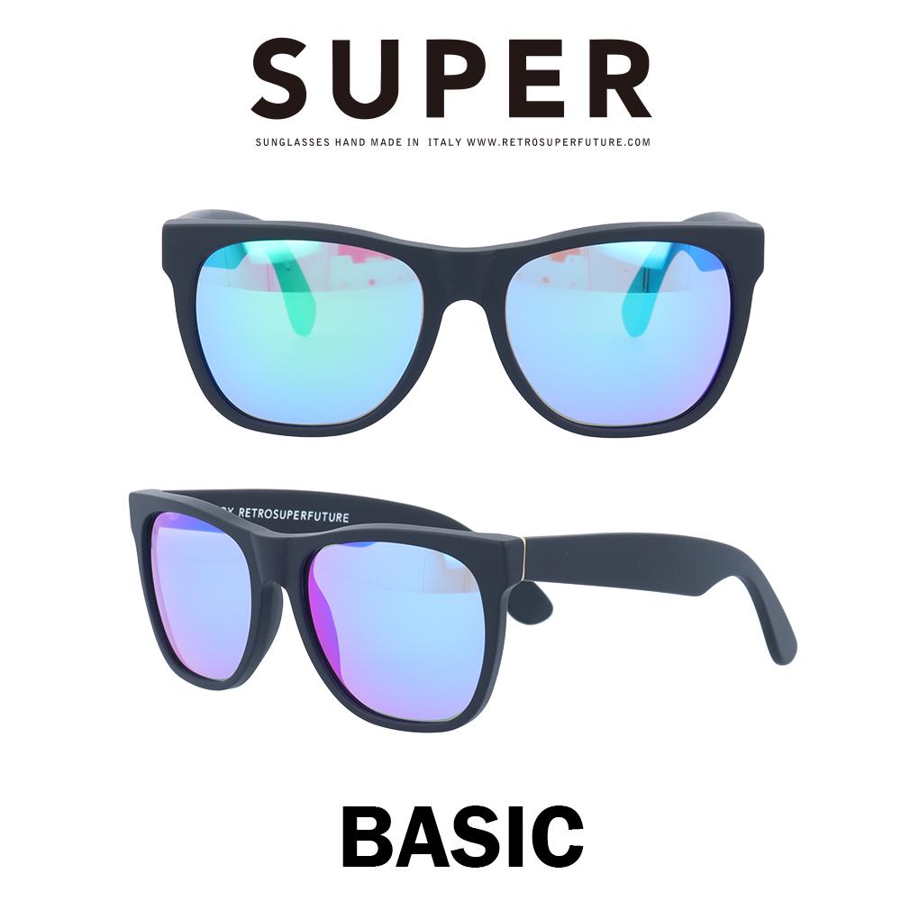 SUPER(スーパー) サングラス ベーシック Basic 166 マットブラック/レインボーミラー