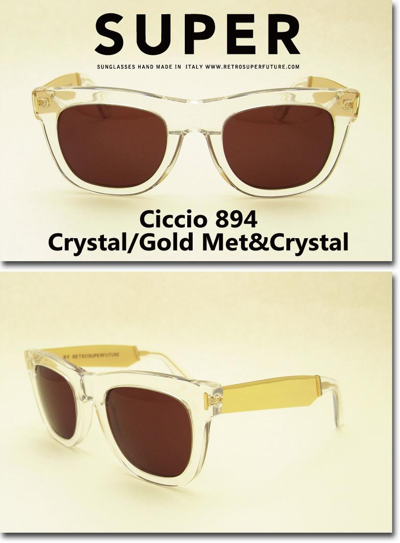 US並行輸入 SUPER Sunglass Ciccio 894 Crystal/Gold Metal&Crystal (スーパーサングラス チッチオ クリスタル・ゴールドメタル)