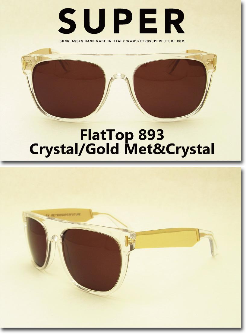 US並行輸入 SUPER Sunglass FlatTop 893 Crystal/Gold Metal&Crystal (スーパーサングラス フラットトップ クリスタル・ゴールドメタル) スーパーサングラス 通販