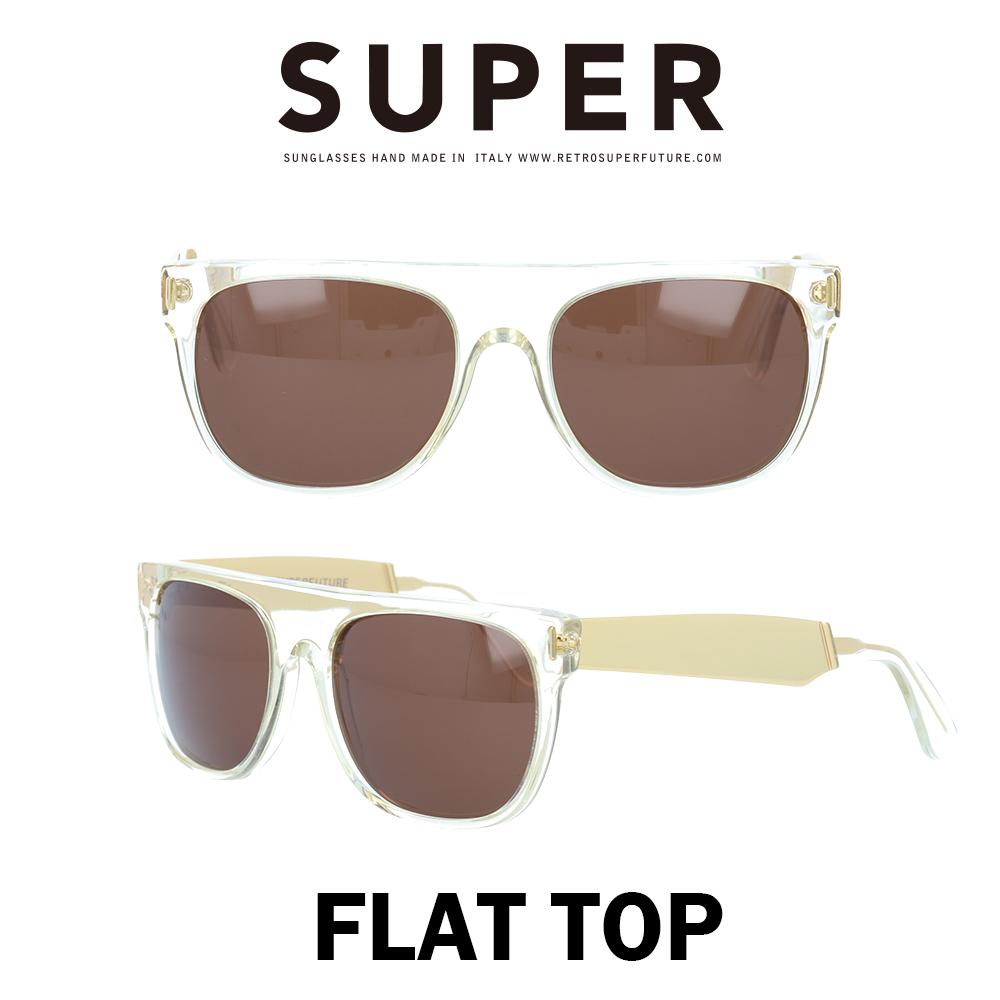 SUPER(スーパー) サングラス フラットトップ Flat Top 893 クリスタル/ゴールドメタル/ブラウン