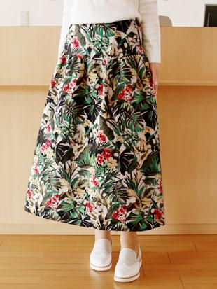 【 SALE・送料無料 】B7(ベーセッツ)ボタニカル パターン フレアースカート【 レビューキャンペーン対象商品 】
