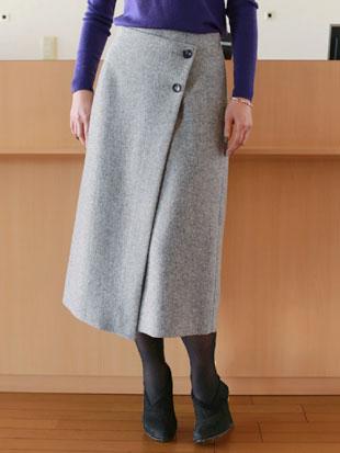 【 SALE 】ASHY ROVE(アッシュローブ)ウールブークレ フェイクラップ スカート【 レビューキャンペーン対象商品 】