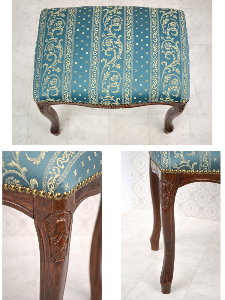 ... ☆ Italy Stools Aqua Blue Striped Floral (chair Chair Chair Chair Legs  Put Helpful Clawfoot Classic Classical Antique European Import Furniture  Luxury ...