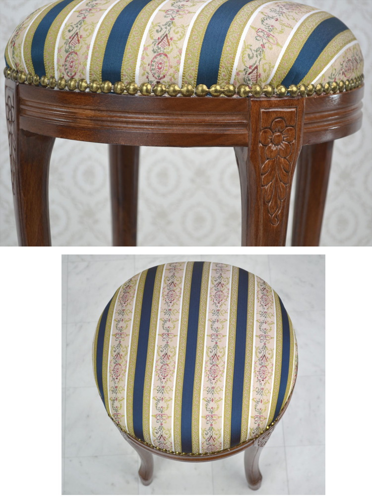 ... ☆ Round Stool Made In Italy Blue Striped Wooden Floral (chair Chair  Chair Chair Legs Put Helpful Clawfoot Classic Classical Antique European  Import ...
