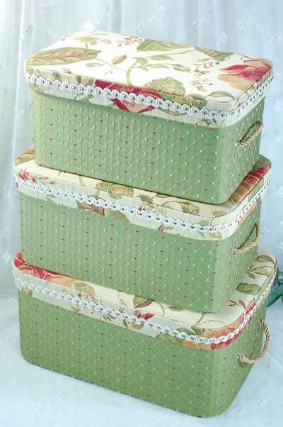 収納ボックス3点セット 布張り 花柄 グリーン カラフルドット【送料無料】