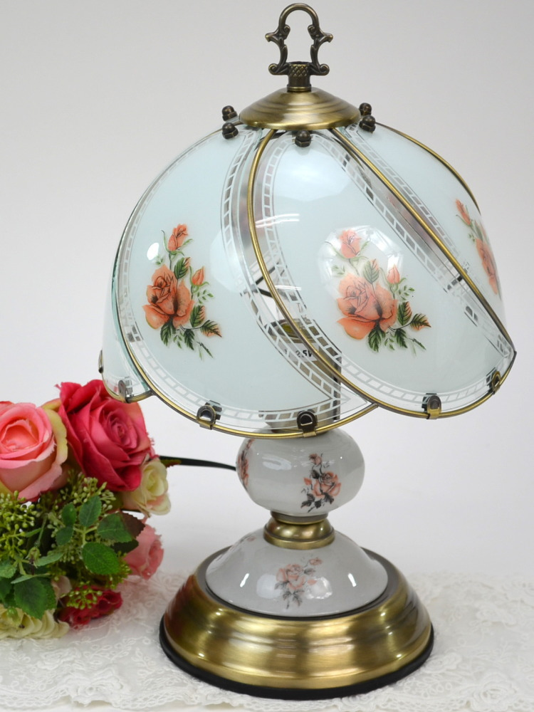 Table lamp touch sensor lamp Rose (antique lamp glass desk lamp rose fashion interior import miscellaneous goods Europe-like rose miscellaneous goods rose pattern rose goods antique gold gift packing for free)