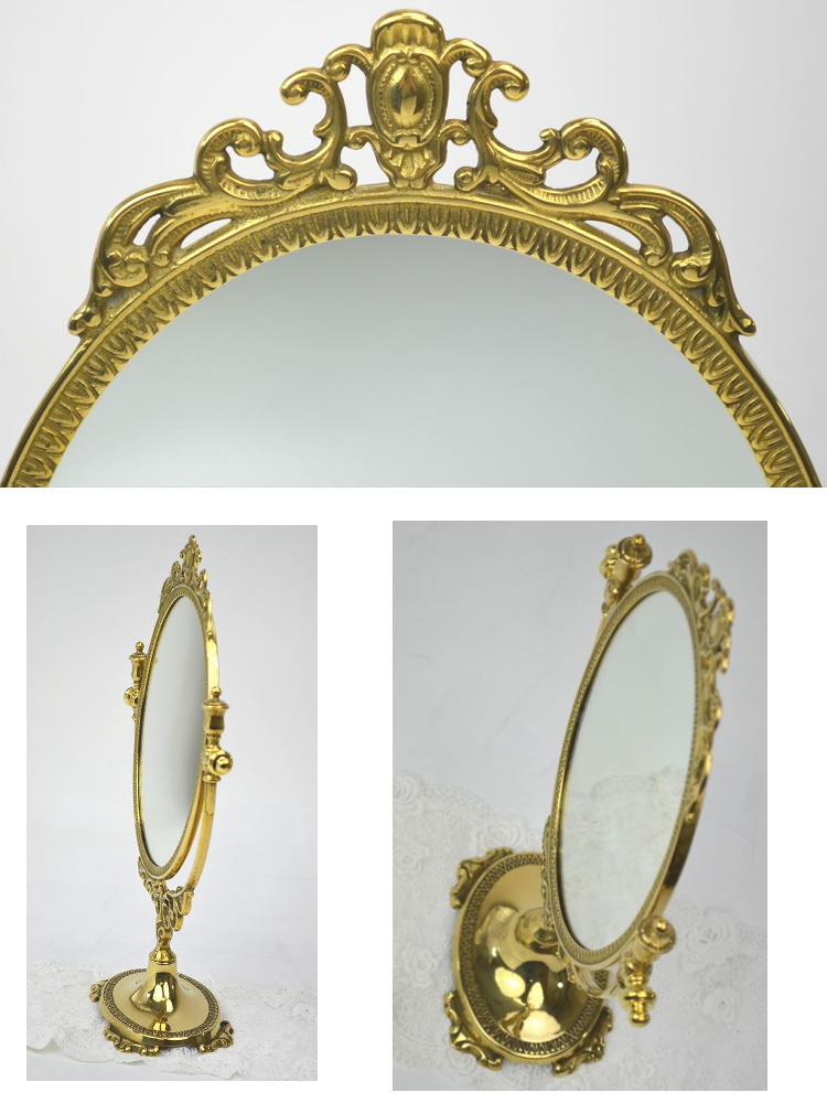 Made In Italy Table Mirror Oval M Gold Tabletop Stand Mirror (fashionable  Interior Antique