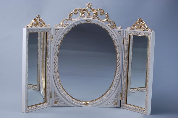 ★三面鏡 アイボリー テーブルミラーアンティーク ロココ調 鏡 ヨーロッパ