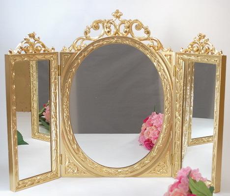 三面鏡 ゴールド テーブルミラーアンティーク ゴールド ロココ調 鏡 ロココ調 三面鏡 ヨーロッパ, 倉橋町:fa7649dc --- officewill.xsrv.jp