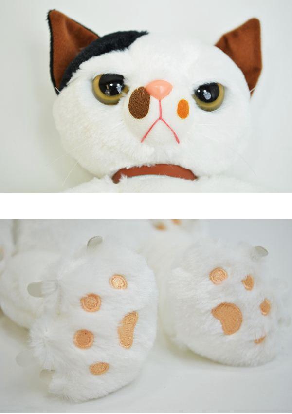 抓奶 L 大小毛绒猫白色猫猫玩具猫图案