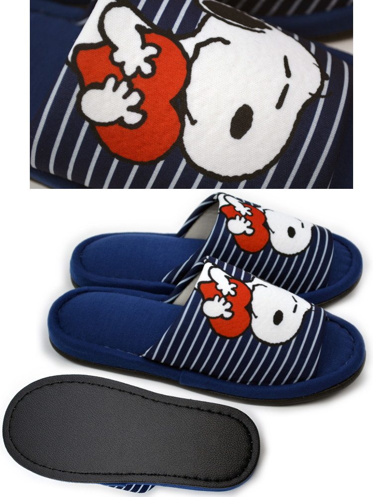 e27adaeedf Slippers Snoopy border PEANUTS grey   Navy   beige 22-24 cm-adult cute  Slipper Room shoes slippers cute dog pattern dog General dog dog dog  character ...
