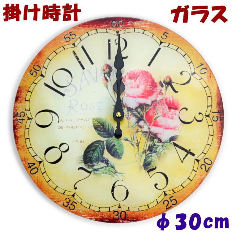 アラビア数字で見やすい クラシカルな薔薇が可愛い ギフト包装無料 購入 壁掛け時計 ローズ 人気海外一番 ピンク ガラス掛け時計 クロック おしゃれ 人気 ヨーロッパ調 薔薇雑貨 薔薇グッズ 壁掛時計 年中無休 クラシック 薔薇柄