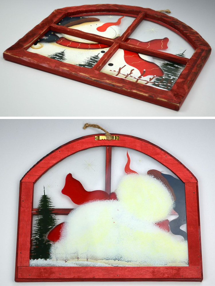 Wall Board window next to the arch-shaped snowman wooden Christmas toy (glass pattern Christmas amount painting snowman display wall ornament ornament ...