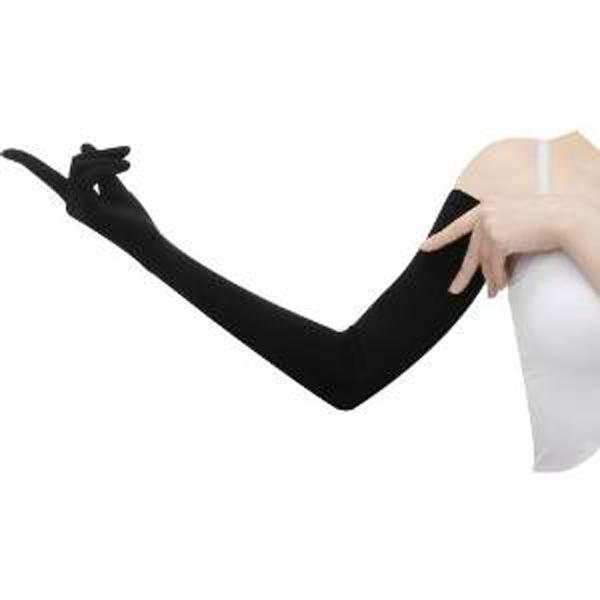 女性向け 健康と美容 日焼け対策にUVカット手袋 送料無料 おたふく手袋:夏物 UV-2711-BLACK フィットスタイル レディースUVカット加工手袋 JAN:4970687211333 67cm セットアップ ブラック ノーマル 買い取り ロング