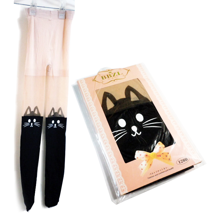046a2d11663 It is tights stockings black cat knee puss 60 denier equivalency cat cat  cat CAT without ...