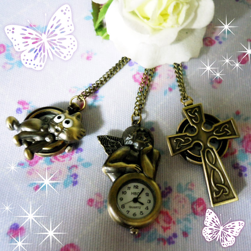 2 for 5,000 yen necklace watch antique European design angel cross kitten with the second place