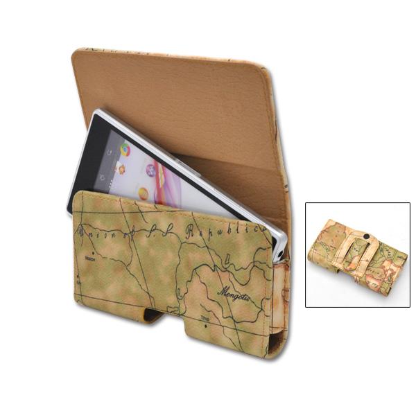 横型 即日出荷 祝開店大放出セール開催中 地図デザインレザーベルトケースベルトに装着できて便利