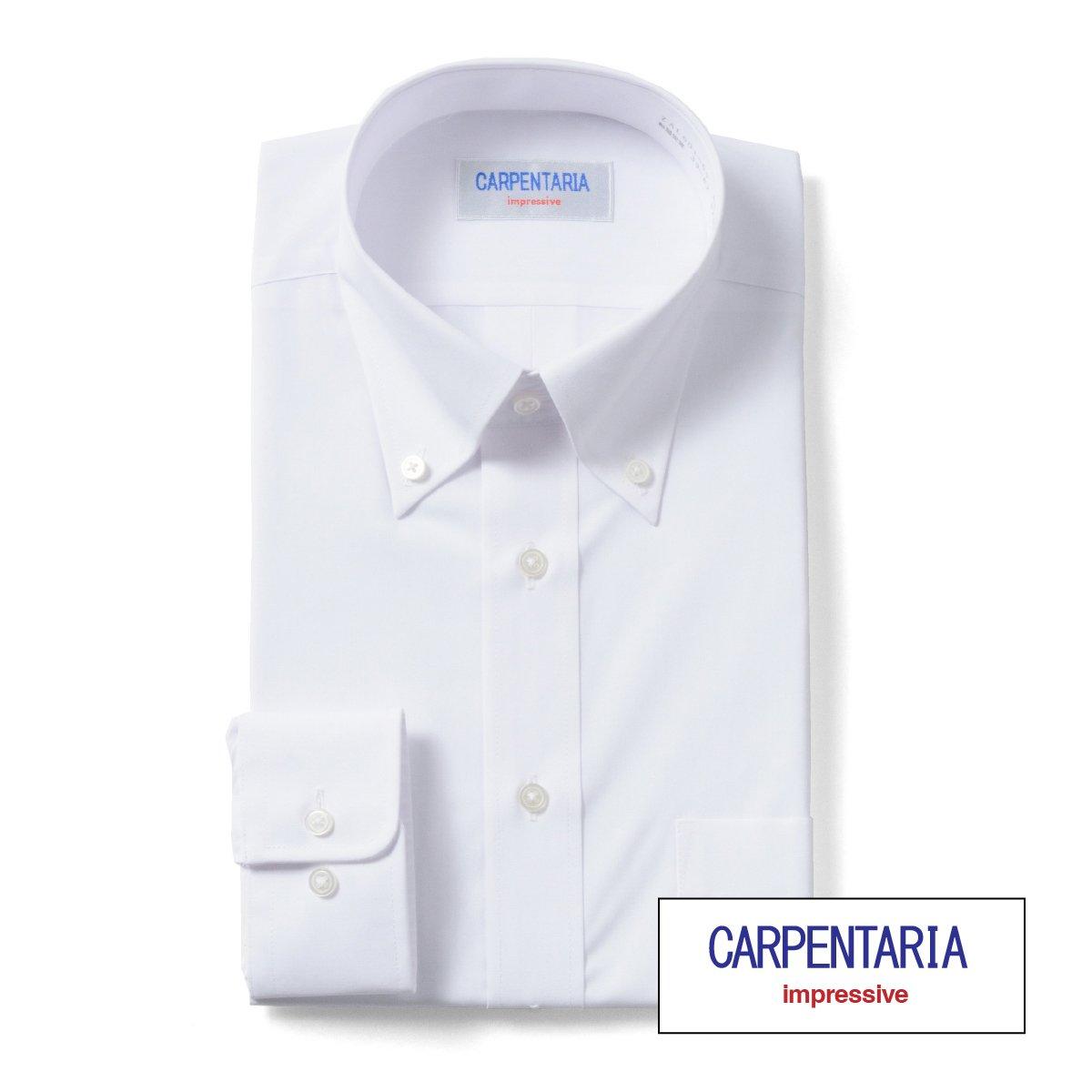 ワイシャツ 長袖 形態安定 メンズ 白 イージーケア Yシャツ カッターシャツ ホワイト ドレスシャツ 大きいサイズ オフィス シャツ ビジネスシャツ 冠婚葬祭 制服 就活 ボタンダウン CARPENTARIA [R12CAB101]