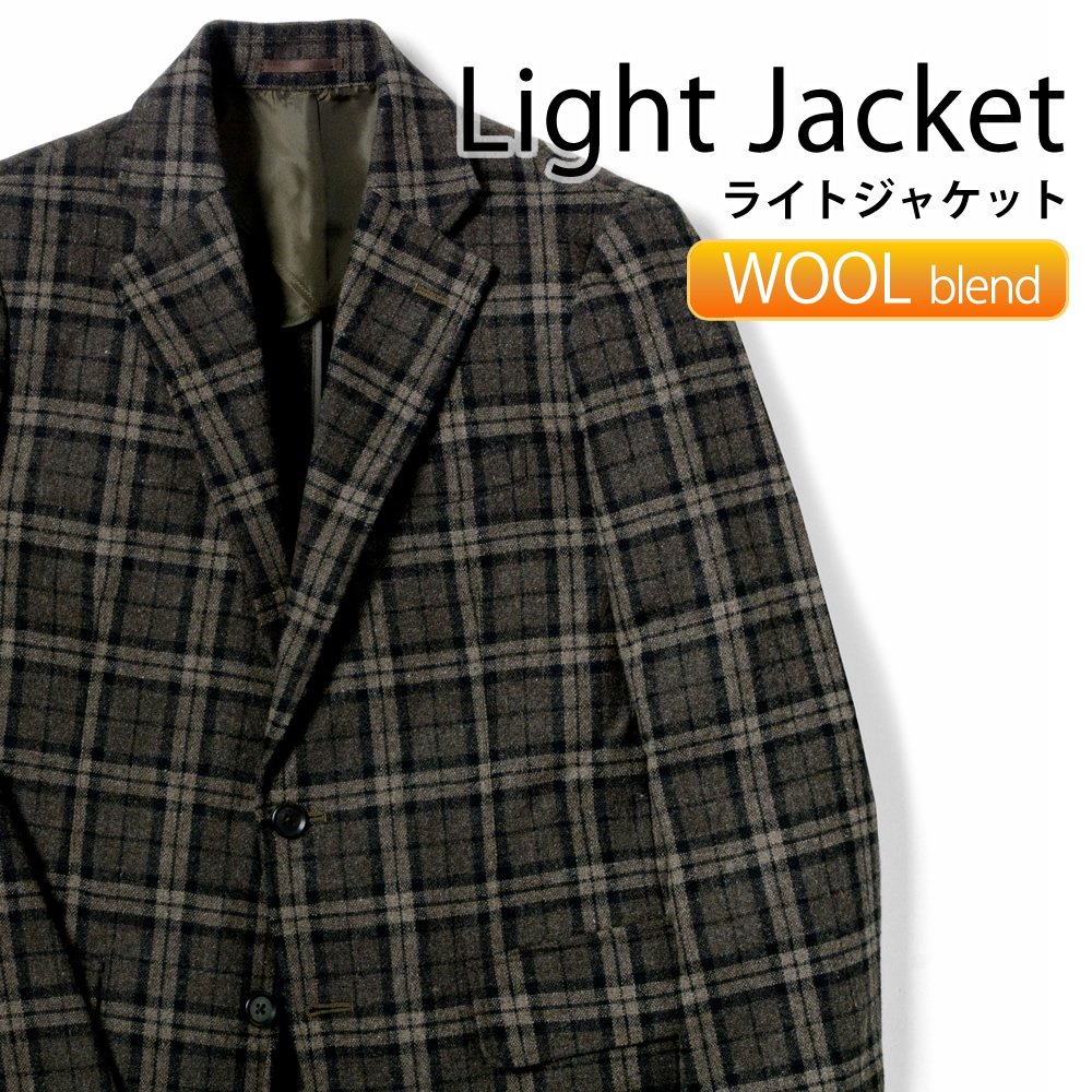 メンズジャケット 標準型 PLATEAU センターベンツ 冬素材 ライトツイード ブラウン濃淡×ブラックチェック ストレッチ [P21PLJ275] 【送料無料】