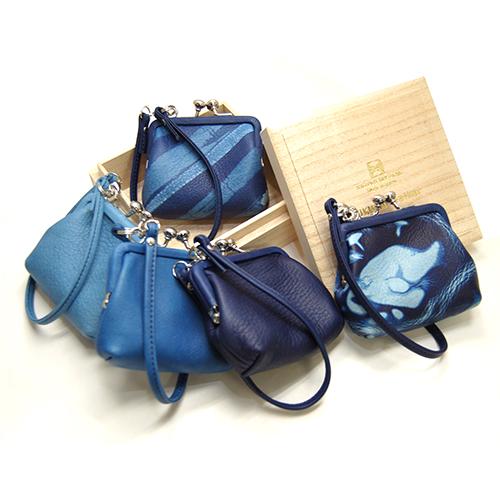 【Cramp】クランプ/池之端銀革店【SUKUMO Leather】藍染め がま口財布(小)/がま口/財布/ポーチ/藍染め/スクモレザー