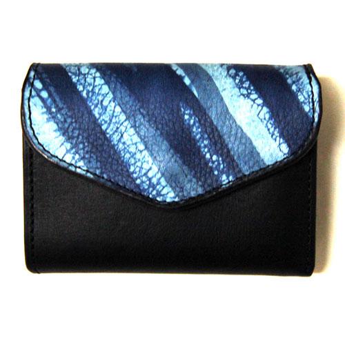 【Cramp】クランプ/池之端銀革店【新作】【SUKUMO Leather】SUKUMO×イタリアンシュリンクレザー/藍染めコンビ/ コンパクトウォレット
