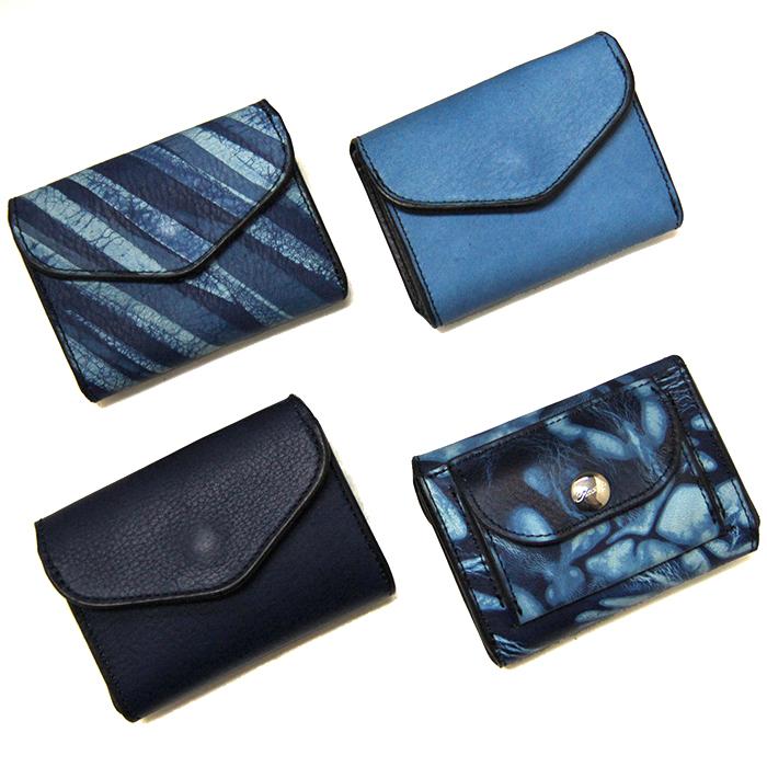 【Cramp】クランプ/池之端銀革店【新作】【SUKUMO Leather】Cramp×SUKUMO Leather 藍染めコンパクトウォレット/
