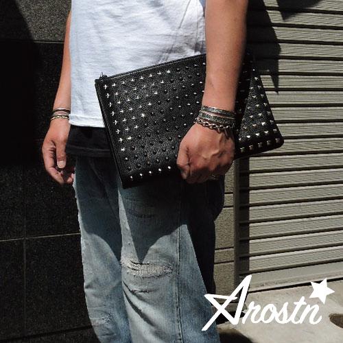 【Arostn】アロスタン【あす楽】【送料無料】クラッチ/スモール/スタッズ/男女兼用