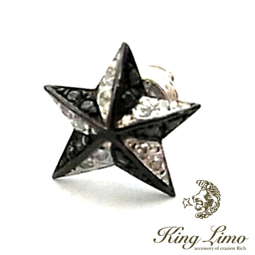 【KING LIMO】キングリモロックスターピアス/シルバー/ブラックコーティング/パヴェCZ/差し鍍金