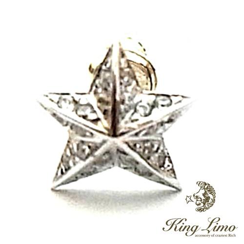 【KING LIMO】キングリモロックスターピアス/CZクリア/シルバー/ロジウムコーティング/スター