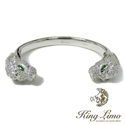 【KING LIMO】キングリモKL BANGLE KLバングル/シルバーバングル/CZ/グリーンガーネット/ロジューム鍍金/ライオン/バングル
