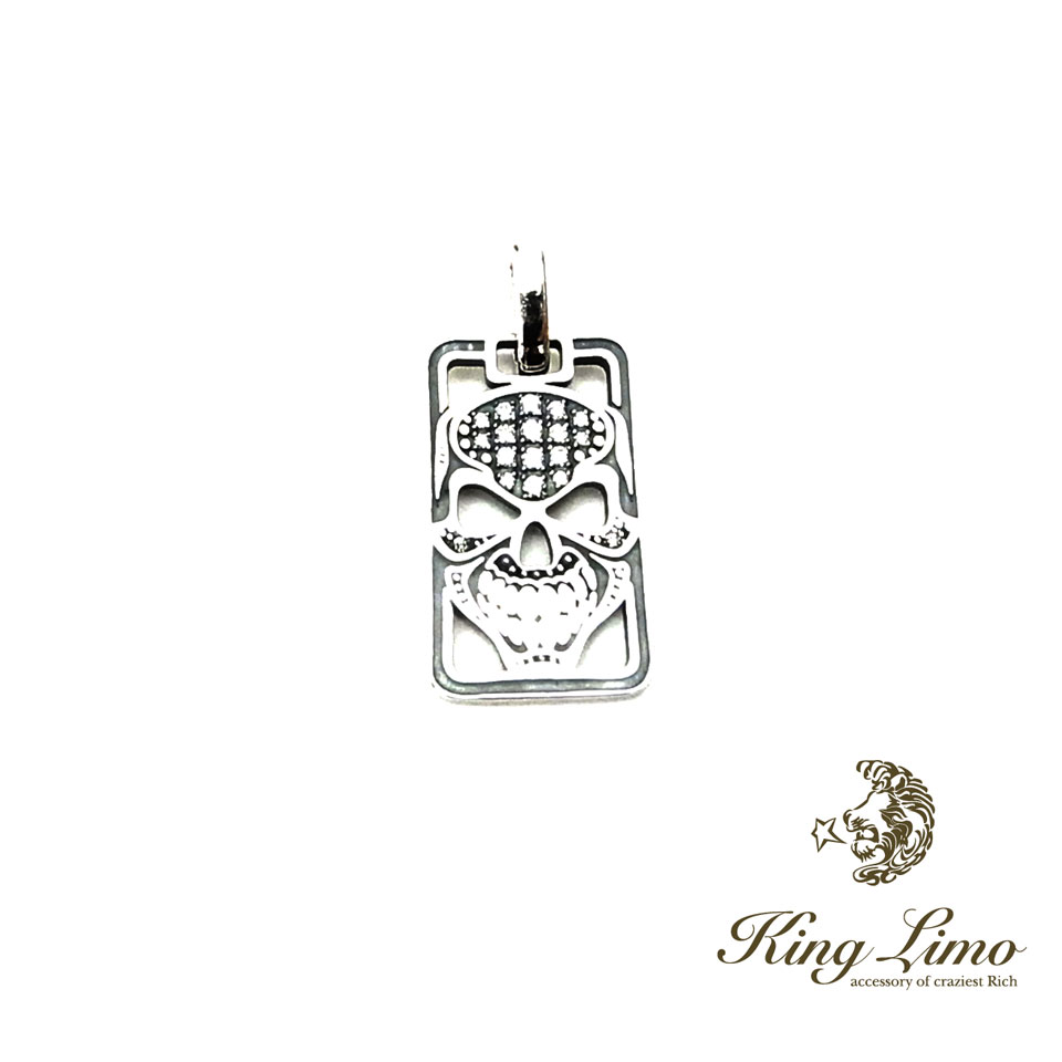 【KING LIMO】キングリモマイクロキングヘッドドッグタグ/シルバーペンダント