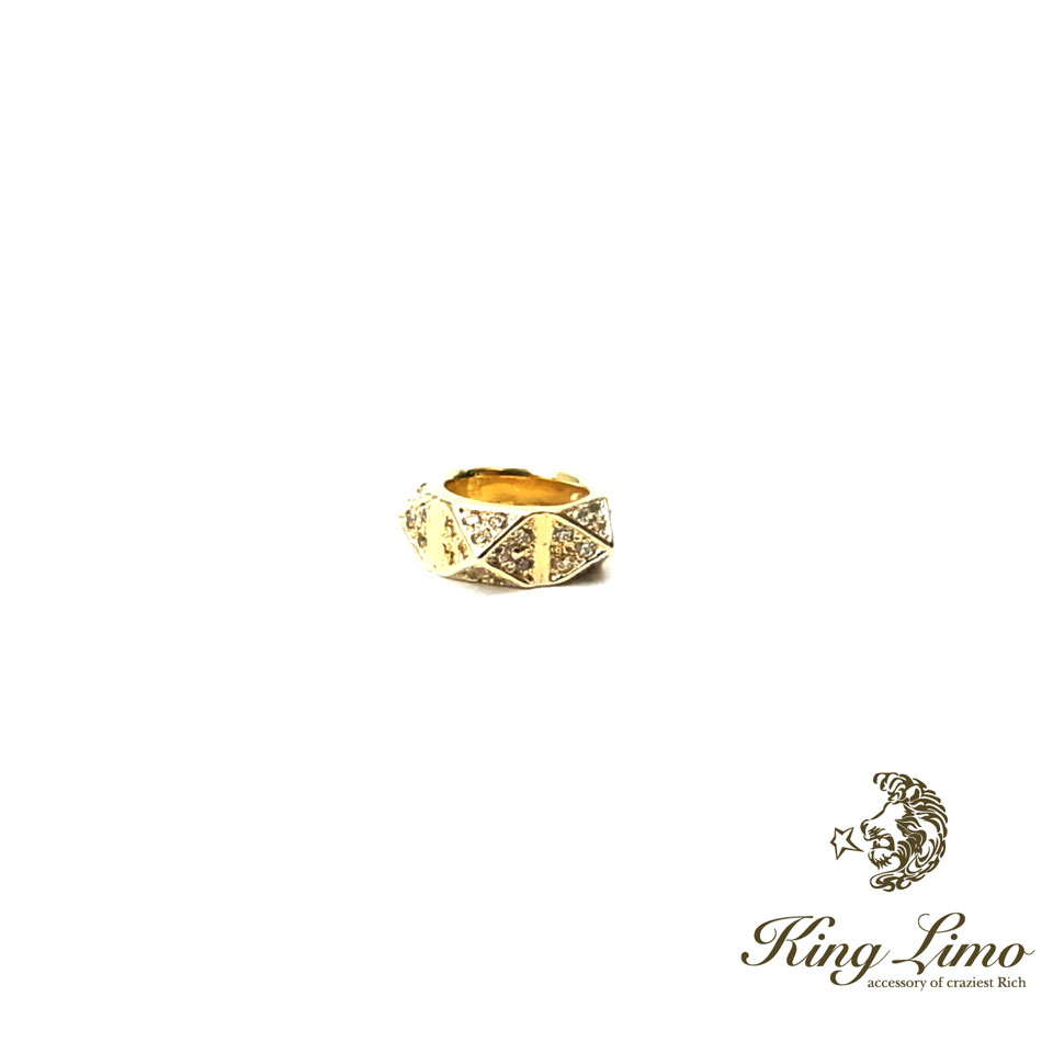 【KING LIMO】キングリモマイクロスタッズチャーム/シルバー/18Kゴールドコーティング/CZ/ペンダント(45CMチェーン付)