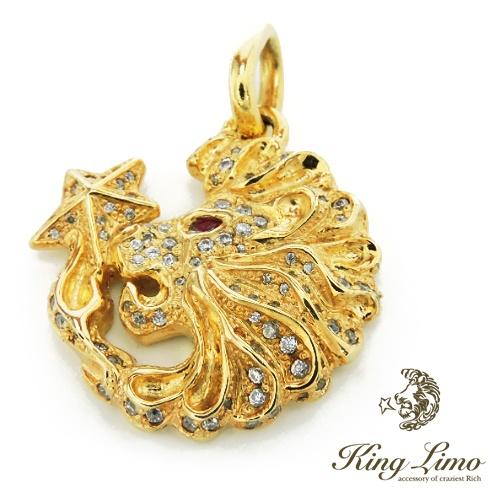 【KING LIMO】キングリモLION HEAD PENDANT ライオンヘッドペンダント/シルバーペンダント/ライオン/18Kゴールドコーティング/ジルコニア/ルビー